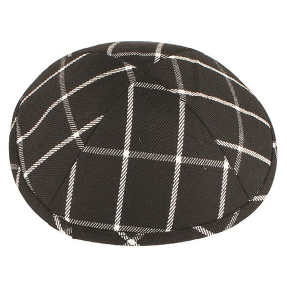 Cloth Flat Kippah 17cm- Checkered