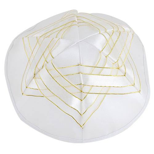 SATIN KIPPAH 19 CM WITH MAGEN DAVID
