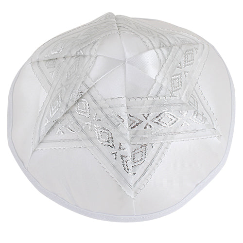 Satin Kippah 19cm- with Silvered Star of David and Trim