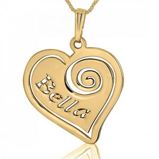 14K Gold Heart Plate Hebrew Name Cutout with Spiral Necklace