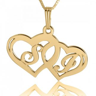 Gold-Plated Sterling Silver Interlocking Hearts Initials Necklace