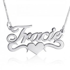 Sterling Silver English Script Name Necklace with Heart & Double Flourish