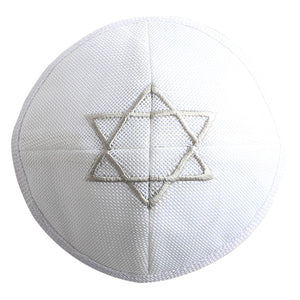 Linen Kippah 17 cm - White with Magen David Embroidery