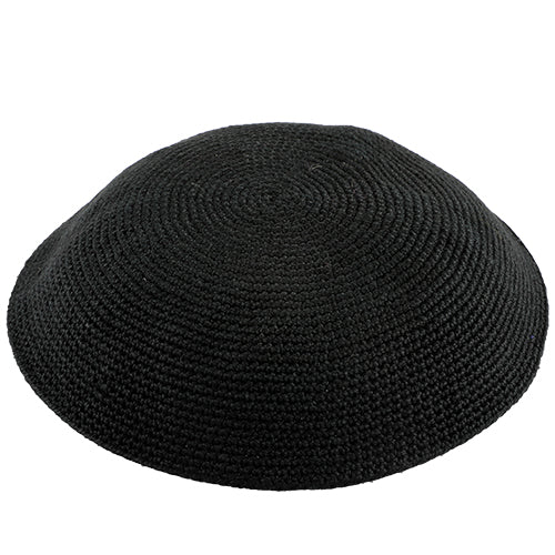 Knitted D.M.C Kippah 15 cm - Sheer Black
