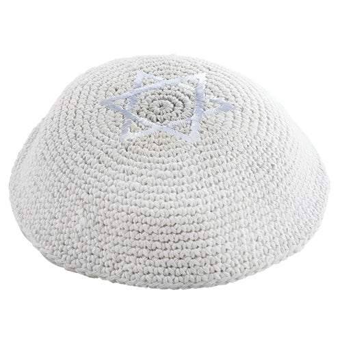 Knitted Kippah 16 cm- White with Star of David Embroidery