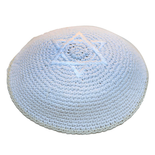 Knitted Kippah 16 cm - White with White Star of David Embroidery and Off White Sripe