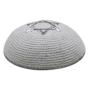 Knitted Kippah 16cm- Silver Star of David Embroidery