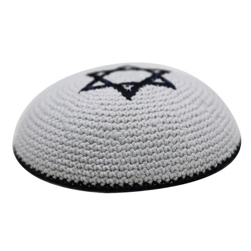 Knitted Kippah 17 cm- Dark Blue Star of David Embroidery with Dark Blue Stripe Around