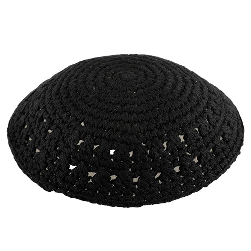 Knitted Kippah 15cm- Black with Holes