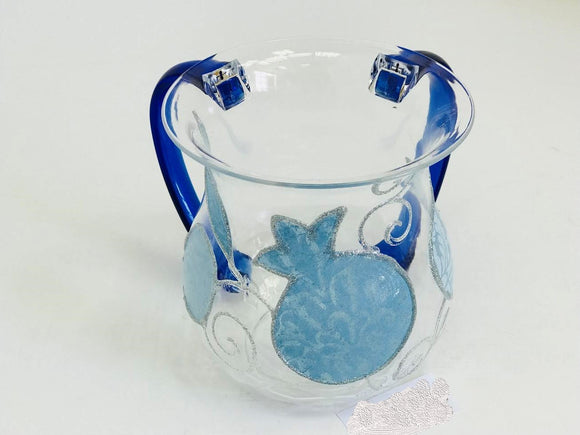 Acrylic Pale Blue Pomegranates Washing Cup