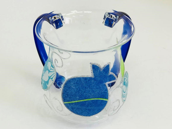 Acrylic Blue Pomegranates Washing Cup
