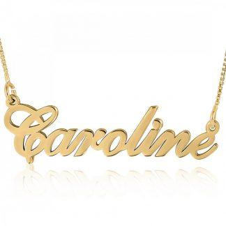 Gold-Plated Sterling Sterling Silver English Script Name Necklace