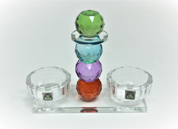 Crystal Salt Tray with Multicolored Stem