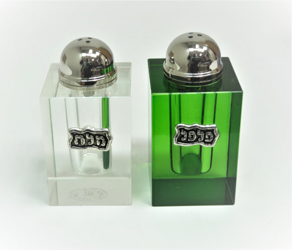 Crystal Clear & Green Cube Salt & Pepper Set with Tray - II