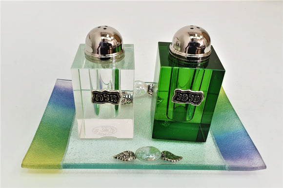 Crystal Clear & Green Cube Salt & Pepper Set with Tray