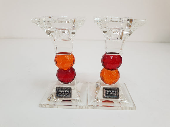 Crystal Candlesticks for Shabbat - Red