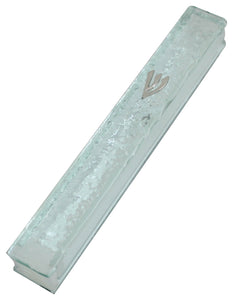 "Glass Mezuzah with Silicon Cork 20cm- ""Shattered Glass"" Design"