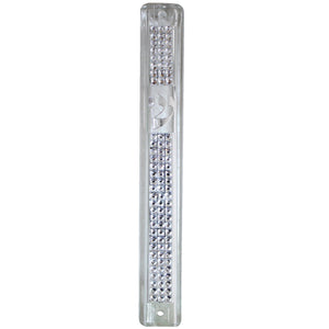 Plastic Mezuzah with Rubber Cork 12cm- Clear Inlaid with Stones