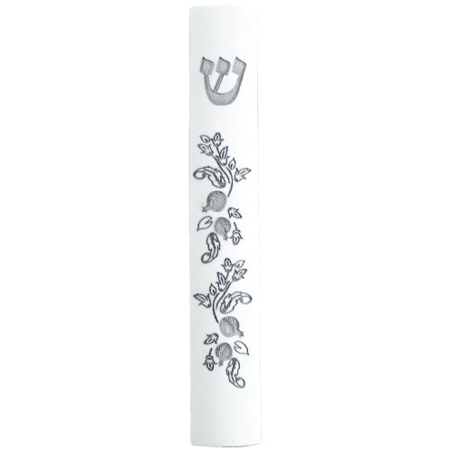 Polyresin Mezuzah with Silicon Cork 12cm-Stone Design with Pomegranate