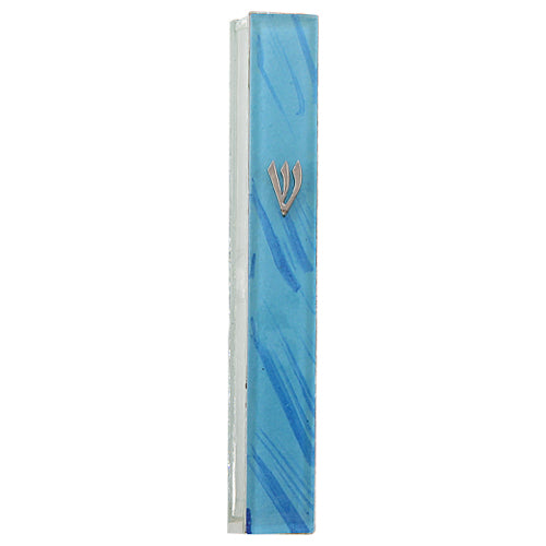Glass Mezuzah with Silicon Cork 12cm- Blue