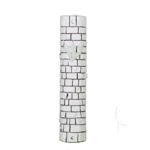 Polyresin Stone-like Mezuzah 15 cm- White with Kotel Stones Design with Silicon Cork