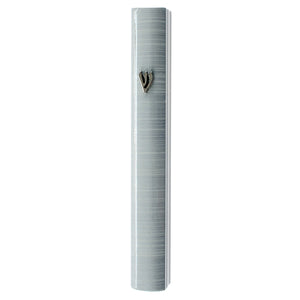 Aluminum Mezuzah 7cm- 3D Metallic White Striped Design