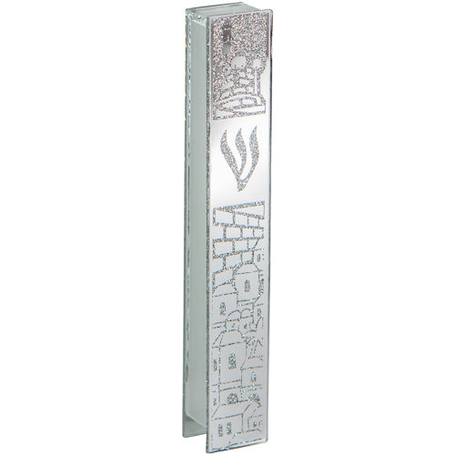 Glass Mezuzah with Silicon Seal 12cm- Jerusalem Motif