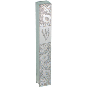 Glass Mezuzah with Silicon Seal 12cm- Pomegranate Motif