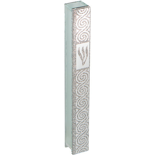 Glass Mezuzah with Silicon Seal 15cm- with Ornate Silver Design