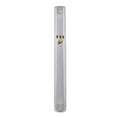Plastic Transparent Mezuzah with Rubber Cork 15 cm- with Gold Shin (28282)