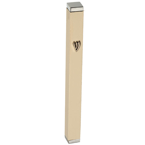 Aluminum Thin Mezuzah 7 cm with Stoppers- White matt