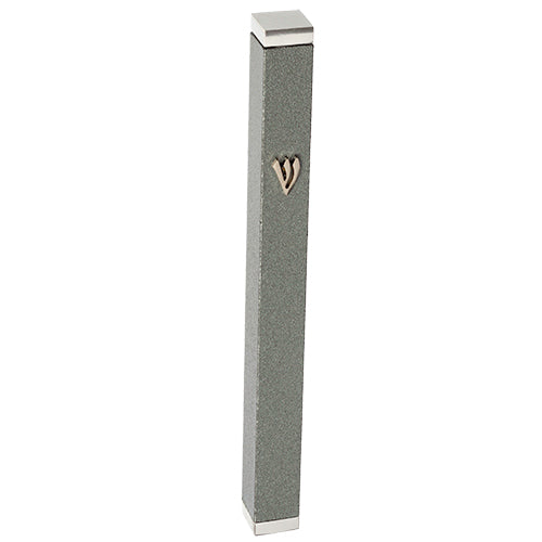 Aluminum Thin Mezuzah 7 cm with Stoppers- Dark Gray