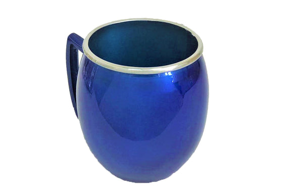 Small Metal & Enamel Washing Cup 11 cm - Blue