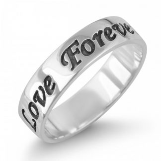 Sterling Silver English Engraved Personalized Band Ring
