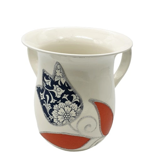 Large Tulips Washing Cup - Blue & Orange