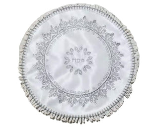 Embroidered White Satin Matzah Cover 40 cm - Ornate