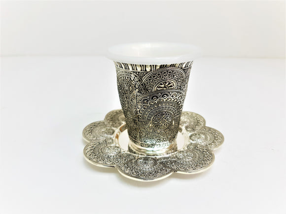 Ornate Silver-Plated Kiddush Cup