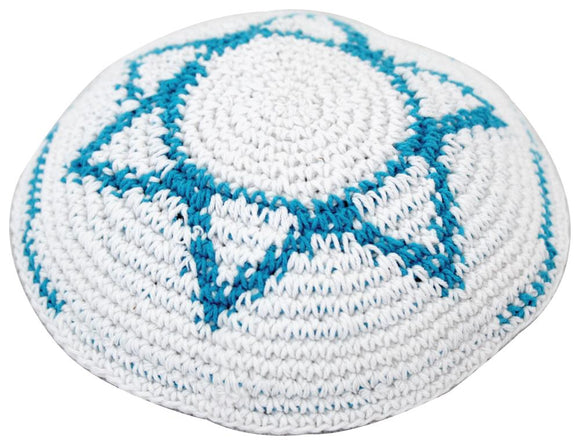 Knitted Kippah 17 cm - White with Light Blue Stipes around and Big Star of David Embroidery