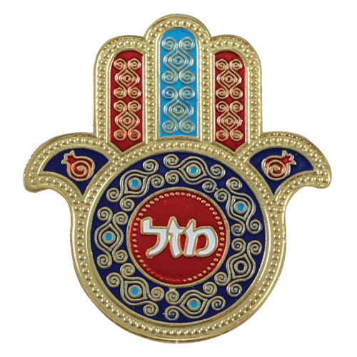 Metal Hamsa Magnet 5x5.5 cm, Multicolored- Mazal