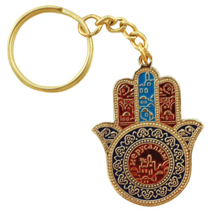 "Key Chain Hamsa ""Jerusalem"" with Prayer for traveller 5x3.5cm - Russian"