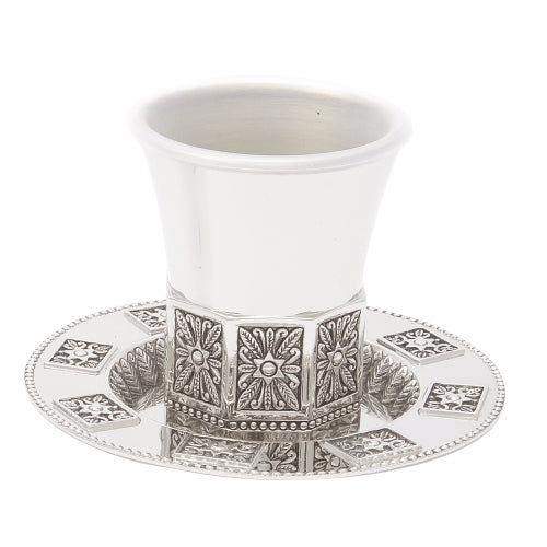 Nickel Octagon Shaped Kiddush Cup Stemless With Saucer