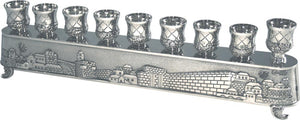 "Nickel Art's ""Magic Menorah"" turns over and used also for candlesticks - ""Jerusalem"" Theme 8X30 cm"