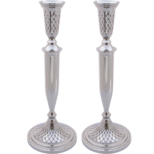 Nickel Silver Candlesticks 30cm- Diamond Design