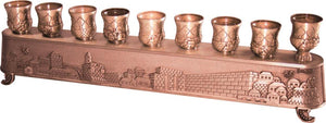 "Copper Art's ""Magic Menorah"" turns over and used also for candlesticks - ""Jerusalem"" Theme 8X30 cm"