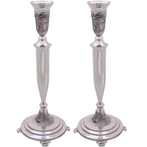 Nickel Silver Candlesticks 31 cm- Diamond Design with Filigree and Stones