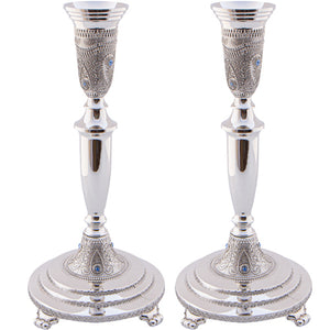 Nickel Silver Candlesticks 23cm- Diamond Design with Filigree and Stones