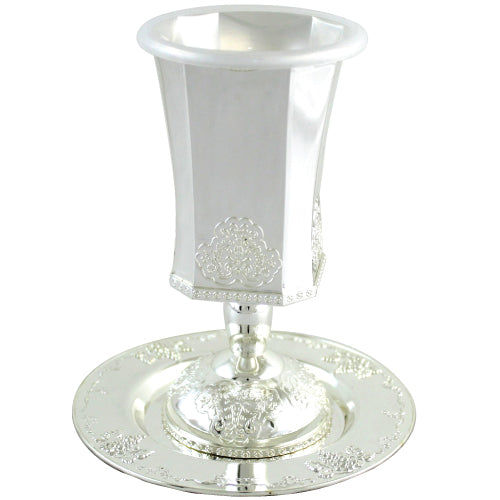 Silver Plated Kiddush Cup 15cm, with Ornate Design - with Stem