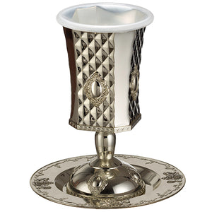 Silver Plated Pewter Kiddush Cup 15cm, with Ornate Design - with Stem - Dark