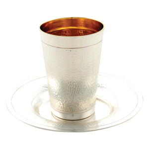 Fine-Hammered Silver Plated Kiddush Cup 10 cm, with Saucer- Stemless