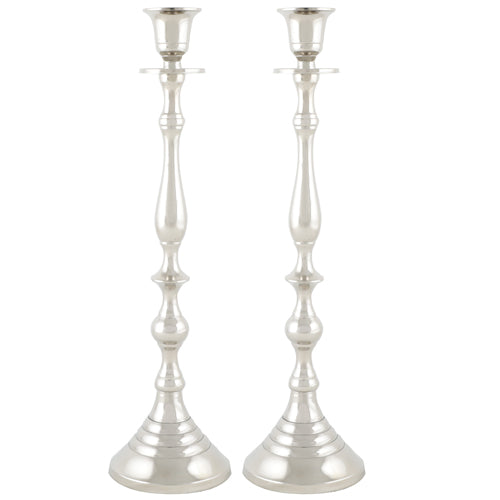 Aluminium Pair of Candle Holders 35cm